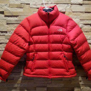 North Face Womens Red Medium Nuptse Puffer Jacket